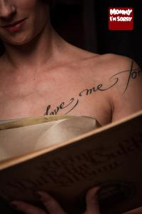 Mommy I'm Sorry lettering tattoo love me